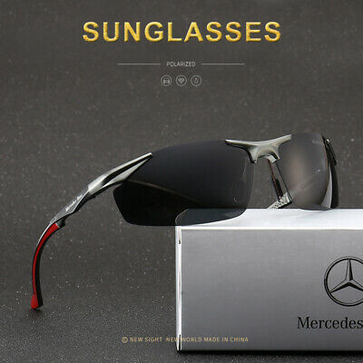 Mercedes Men's Polarized Sunglasses UV Protection Al-Mg Metal Frame Glasses • 14.98£