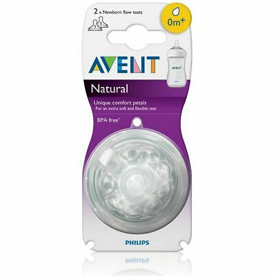 AU19.95 • Buy Philips Avent Natural Teat 0 Months+ - Newborn Flow - 2 Pack - Anti-Colic No BPA
