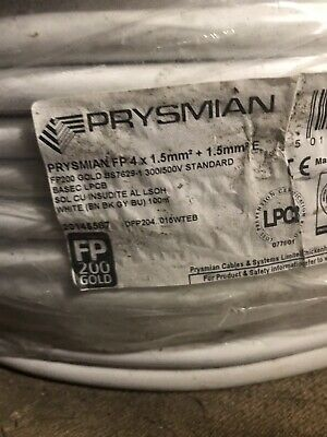 PRYSMIAN FP200 Gold 1.5mm 4 Core& Earth Fireproof Cable LSOH  White - • 0.99£