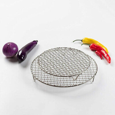 Grilling Net Round Cooling Rack BBQ Wire Mesh With Feet Stand Tray Stackable • 5.64£
