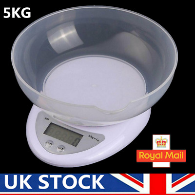 Kitchen Digital Scales 5KG Electronic Cooking Baking Weighing Scale With Bowl UK • 8.99£