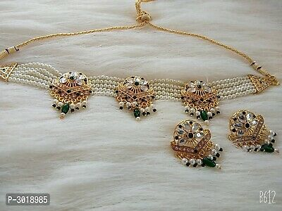 $19.99 • Buy Gold Plated Pearl Choker Necklace Set Bollywood Bridal Indian Jewelry Set