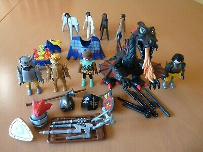 Playmobil Fire Breathing Black Red Dragon King Queen Joust Knight Horse Bundle • 9.99£