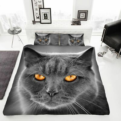 Cat Print 3D Duvet Cover Set Luxury Bedding Set Pillow Case In Size King • 18.99£