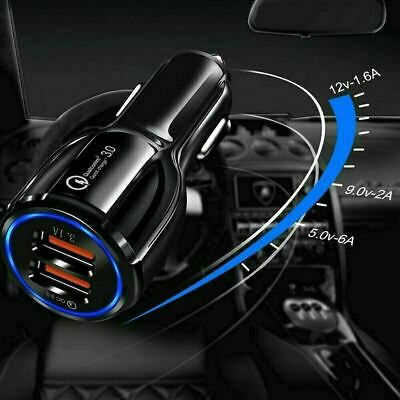 AU9.80 • Buy Fast Charge 3.0 Car Charger 2 USB Ports Power Adapter Cigarette Lighter Socket