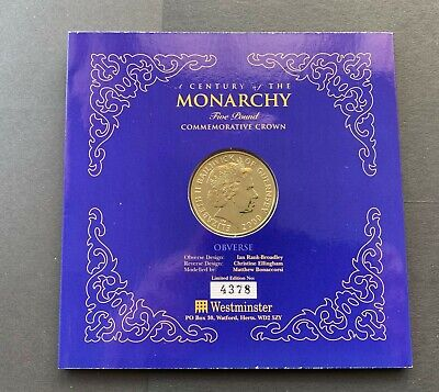 Guernsey 2000, A Century Of The Monarchy, Unc. Five Pounds In Presentation Pack  • 7£