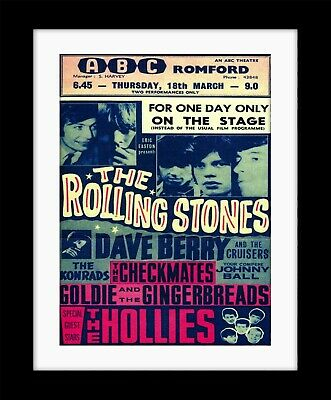 £9.99 • Buy THE ROLLING STONES Romford  Vintage Style Poster Print Mounted Framed FREE POST