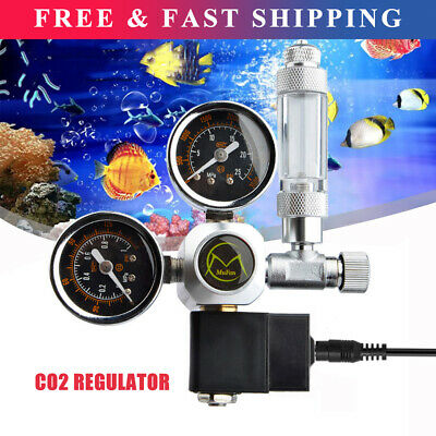 Aquarium CO2 Regulator 2 Gauge Display W/ Bubble Counter Solenoid Valve Kits • 46.80£