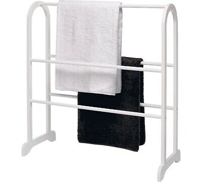 White Towel Stand Free Standing Wooden Bathroom 5 Rail Rack Stand • 27.99£