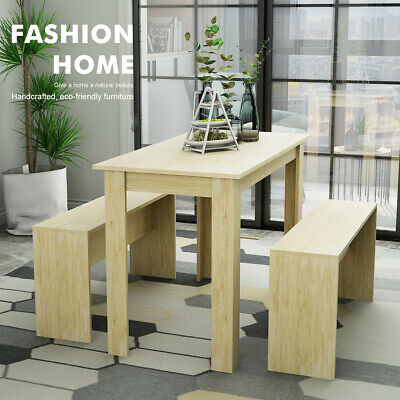 Dining Table And Chair Set Wooden Square Table 2 Bench Modern Kitchen Furniture • 85.99£