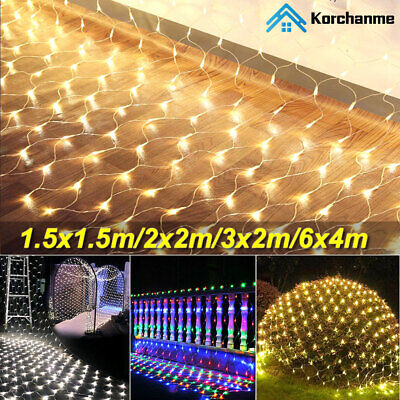 LED Fairy Curtain Lights Net Mesh Indoor Outdoor Wedding Garden Wall Party Decor • 10.19£