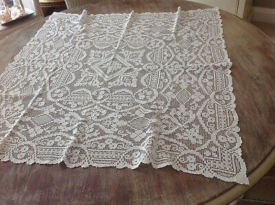 Antique French White Tambour Lace  Tablecloth C 1900 • 9.99£