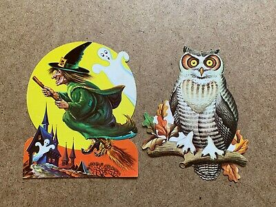 $ CDN39.57 • Buy Vintage Witch Ghost Owl Haunted House Halloween Paper Decoration Lot