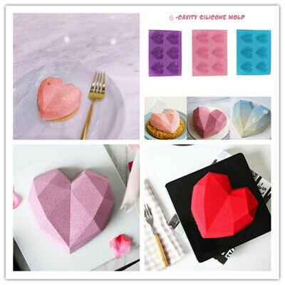 Diamond Chocolate Cake Silicone Heart Shaped  Mould DIY 3D Cupcake Mold  • 3.99£