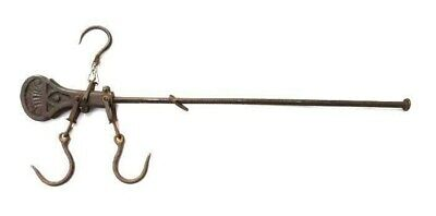 $ CDN33.77 • Buy 1800s Antique HANGING WEIGHT SCALE W/3 HOOKS Cast Iron