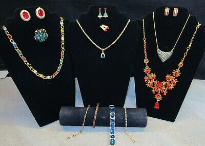 $ CDN20.29 • Buy Huge Vintage To Now RHINESTONE JEWELRY 13pc Lot All Wearable Estate Multi Color