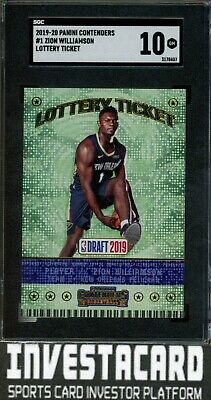 $7.50 • Buy 2019-20 Contenders Lottery Ticket Zion Williamson #1 Rookie SGC 10 (Comp PSA 10)