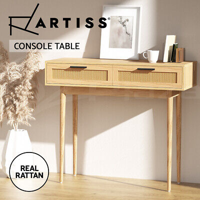 AU159.90 • Buy Artiss Rattan Console Table Drawer Storage Hallway Tables Drawers