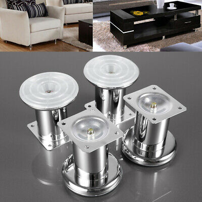 4 X Heavy Duty 80mm Silver Metal, Furniture Feet/ Legs For Sofa, Chairs, Stools • 10.99£