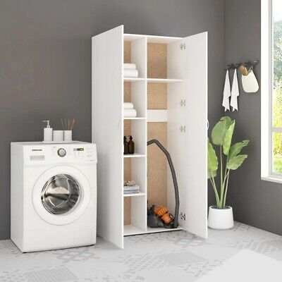 £289.99 • Buy Tall Cupboard With Shelves White Unit Storage Cabinet Kitchen Utility Laundry