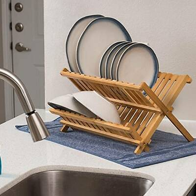 Bamboo Foldable Dish Drainer Wooden Plates Mugs Rack Stand Holder 2-Tier Folding • 9.99£