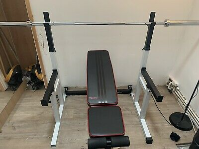 Squat / Benchpress W. Spotters + Foldaway Adjustable Bench + 7ft Olympic Barbell • 700£