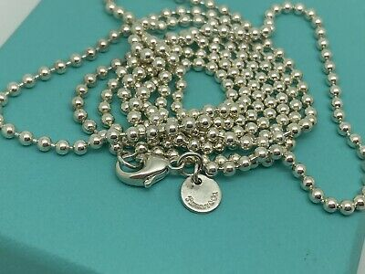 $120 • Buy Tiffany & Co. Sterling Silver Large Ball Bead Beaded Toilet Chain 30' Necklace