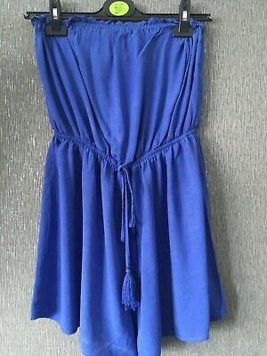 Ladies NEW LOOK Blue Bandeau  Playsuit Size 12 • 2£