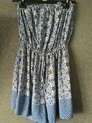 Ladies NEW LOOK Blue & White Bandeau  Playsuit Size 12 • 2£