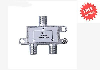 AU7.45 • Buy TV Antenna Splitter 2-Way Aerial F-Type 5-2400MHz Power Pass For Foxtel