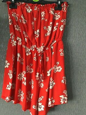 Ladies NEW LOOK Red & Floral Bandeau  Playsuit Size 12 • 2£