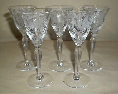 $39.99 • Buy FIVE Morgantown AMERICAN BEAUTY Etched Roses CORDIAL GLASSES