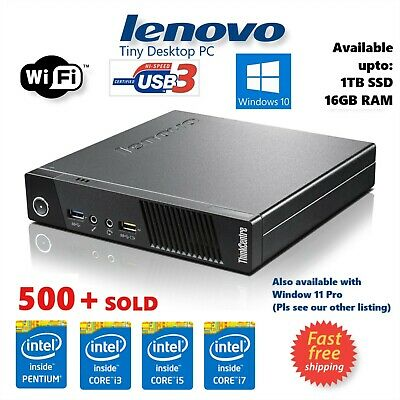 Lenovo Intel I7 4th Gen 2TB HDD SSD 16GB RAM M93 Ultra Small PC WIN 10 PRO Wi-Fi • 150£
