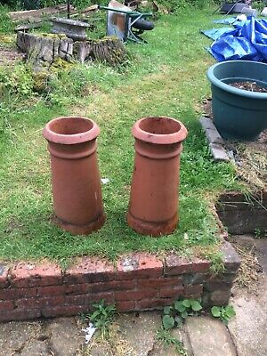 A Pair Of Large Old Chimney Pot ,Planter. Red Clay,22inch High, 8 Inch Top • 100£