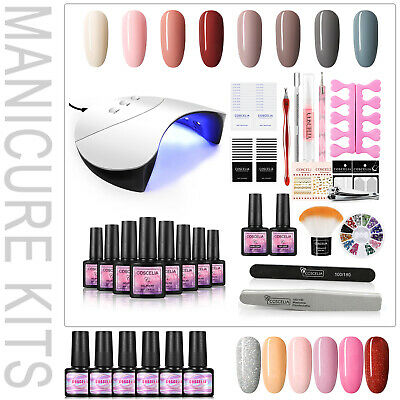 UV Gel Nail Polish Varnish Starter Kit Dryer Machine Tools Lamp Top&Base Coat • 22.99£