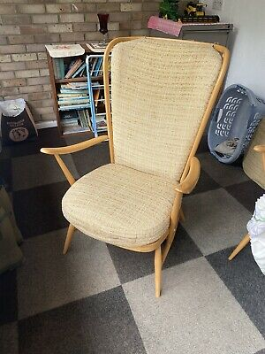 Vintage Ercol Windsor 478 Evergreen Armchair With Cushions Blonde • 250£