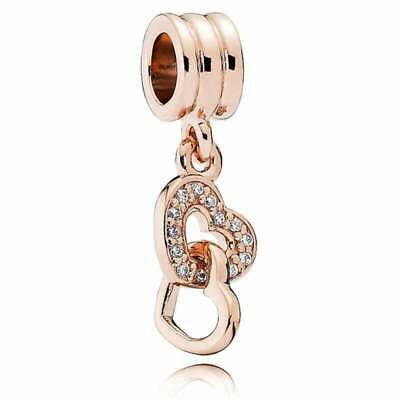 Genuine Pandora Rose Gold Interlocking Hearts Dangle Charm 781242CZ • 18.99£