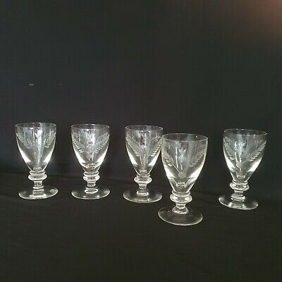 Antique Victorian Hand Blown Engraved With Thistle  5 Glasses  • 0.99£