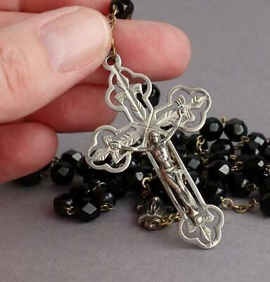 Vintage/Antique STERLING SILVER & Black FRENCH JET Italian ROSARY Catholic ITALY • 0.99£
