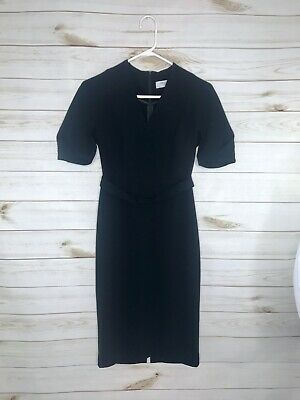 $ CDN83.23 • Buy MM LAFLEUR Women's Short Sleeve V-Neck Belted Career Black Dress Size 0P