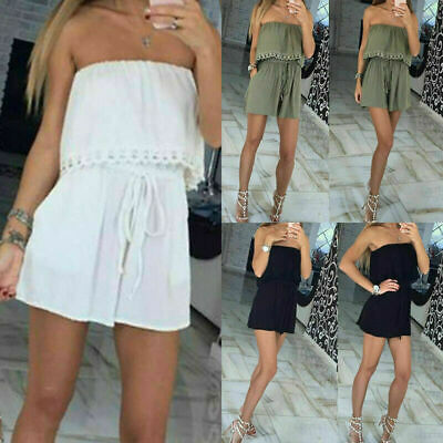 UK Ladies Playsuit Jumpsuit Leaf Shorts Bandeau Elasticated Summer New Womens • 4.99£