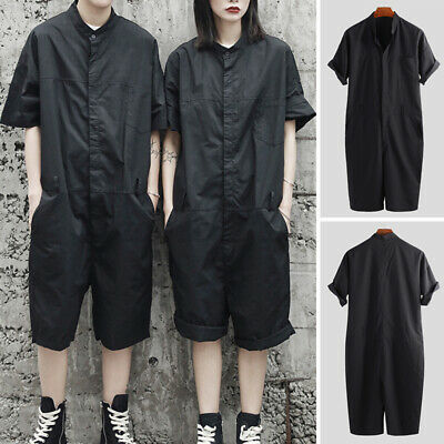 $17.01 • Buy Mens Womens Fashion Dungarees Jumpsuit Short Sleeve Pants Rompers Short Overalls