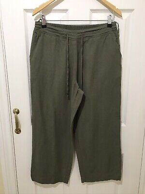 Anthology Ladies Cropped Linen Blend Trousers, Back Elasticated, Khaki Size 14 • 2.99£
