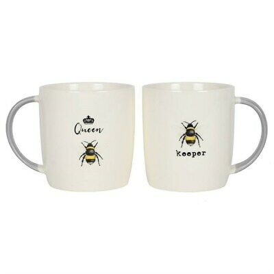 £12.95 • Buy Queen Bee & Bee Keeper Mugs Set - Ceramic Mugs - Gift Boxed - Gift For Couples