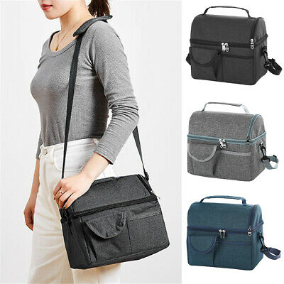 $ CDN21.66 • Buy Large Insulated Lunch Bag Bento Totes Thermal Box For Men Women Double Decker