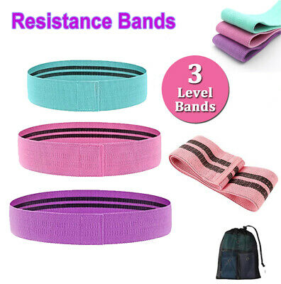 AU18.99 • Buy Fabric Resistance Bands Hip Booty Training Fitness Strength Workout Exercise Kit