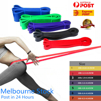 AU12.99 • Buy Heavy Duty Resistance Bands Loop Power Gym Fitness Exercise Yoga Workout