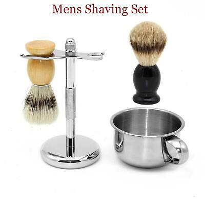 Mens Badger Hair Shaving Brush Kit Silver Razor Stand Holder Bowl Mugs Cup Set • 16.99£
