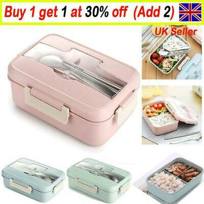 3 Compartments Lunch Box For Kids Adults Food Container Set Bento Storage Box GL • 7.15£