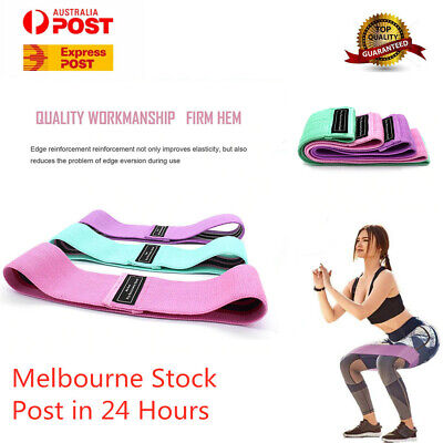 AU19.99 • Buy Resistance Booty Bands Set-3 Hip Circle Loop Bands Workout Exercise Yoga Gym
